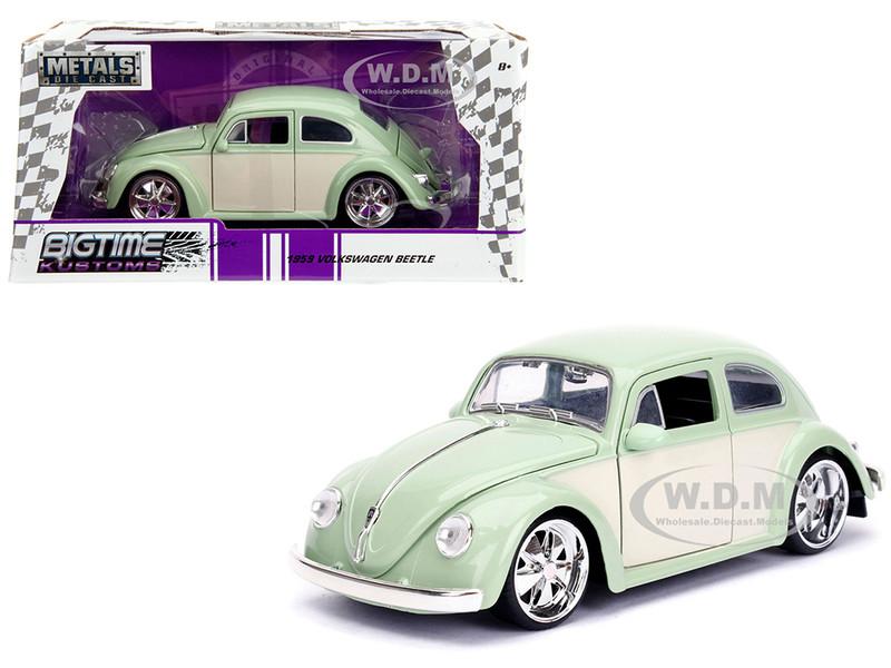 1959 Volkswagen Beetle Light Green Cream Bigtime Kustoms 1/24 Diecast Model Car Jada 99020