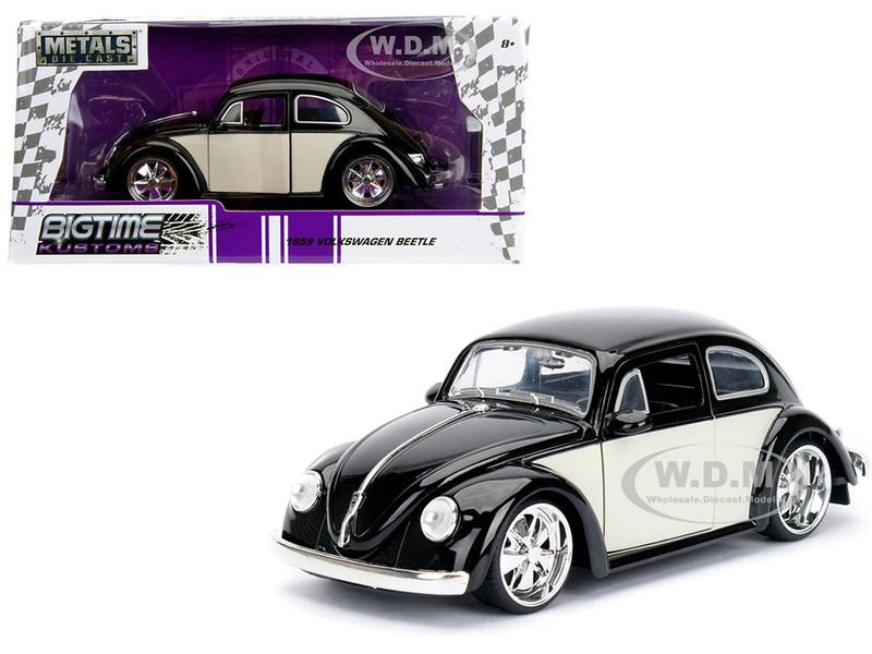 1959 Volkswagen Beetle Black Cream Bigtime Kustoms 1/24 Diecast Model Car Jada 99021