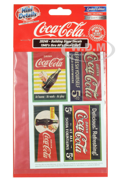 1940's Thru 60's Coca Cola Building Signs Decals 1/87 HO Scale Models Classic Metal Works 20246