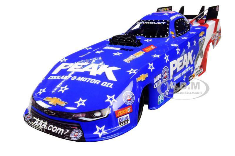 Peak Chevrolet Camaro NHRA Funny Car John Force Patriotic John Force Racing 1/24 Diecast Model Car Autoworld CP7633