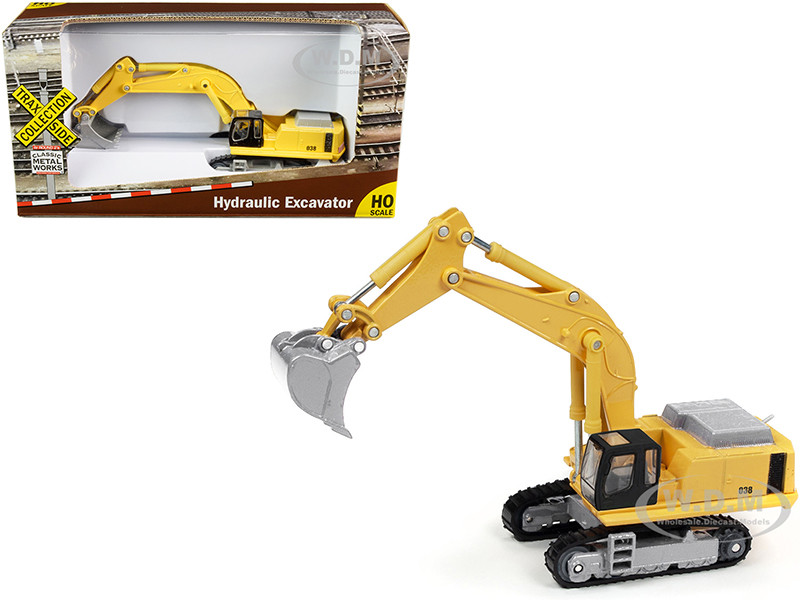 Hydraulic Excavator Yellow TraxSide Collection 1/87 HO Scale Diecast Model Classic Metal Works TC100 B