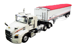 Mack Anthem Day Cab Wilson PaceSetter High-Sided Tandem-Axle Grain Trailer White 1/64 Diecast Model DCP First Gear 60-0660