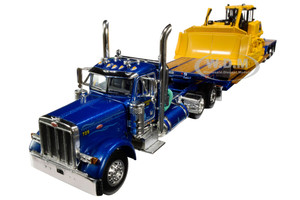 Peterbilt 379 Day Cab Tractor Truck Western Distributing Trans Corp Fontaine Renegade Extendable Lowboy Flip Axle Blue Metallic Komatsu D155AX-8 Sigmadozer with Ripper Set of 2 pieces 1/64 Diecast Model DCP First Gear 60-0693K