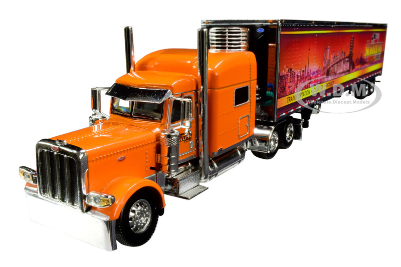 """Peterbilt 389 70"""" Mid-Roof Sleeper Cab Tractor Truck with 53' Utility Reefer Refrigerated Trailer """"Scotlynn Group"""" Orange 1/64 Diecast Model by DCP/First Gear 60-0705"""