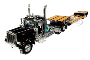 Peterbilt 379 Day Cab Tractor Truck Black Fontaine Renegade Extendable Lowboy Trailer Flip Axle Black 1/64 Diecast Model DCP First Gear 60-0721