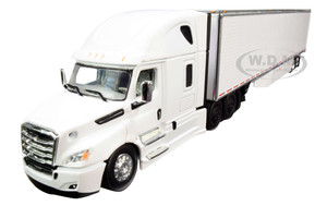 2018 Freightliner Cascadia High-Roof Sleeper Cab with 53' Utility Dry Goods Trailer with Side Skirts White 1/64 Diecast Model by DCP/First Gear 60-0744