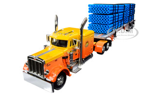 "Peterbilt 359 63"" Sleeper Cab Wilson Roadbrute Spread-Axle Trailer 6 Blue Pipe Loads Kelsey's Trucking Sunrise Express 1st in a Big Rigs Series 1/64 Diecast Model DCP First Gear 69-0700"