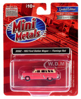 1953 Ford Station Wagon Flamingo Red 1/87 HO Scale Model Car Classic Metal Works 30582