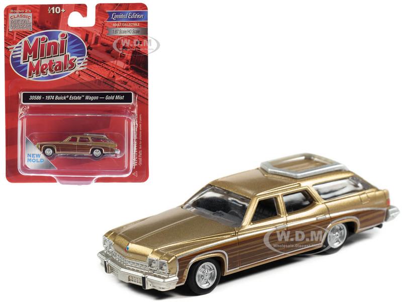 1974 Buick Estate Wagon Gold Mist Metallic Woodgrain Sides 1/87 HO Scale Model Car Classic Metal Works 30586
