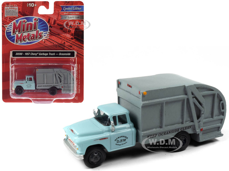 1957 Chevrolet Garbage Truck Oceanside Department of Public Works Light Blue Gray 1/87 HO Scale Model Classic Metal Works 30590