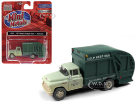 1957 Chevrolet Garbage Truck Ironwood Sanitation Light Green Dark Green Dirty Weathered 1/87 HO Scale Model Classic Metal Works 30591