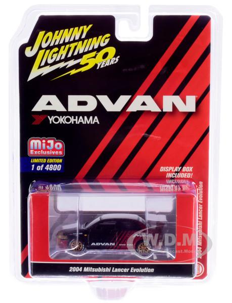 2004 Mitsubishi Lancer Evolution Black Metallic Burgundy Copper Wheels ADVAN Yokohama Johnny Lightning 50th Anniversary Limited Edition 4800 pieces Worldwide 1/64 Diecast Model Car Johnny Lightning JLCP7216