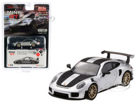 Porsche 911 GT2 RS Weissach Package GT Silver Metallic Carbon Stripes Limited Edition 3600 pieces Worldwide 1/64 Diecast Model Car True Scale Miniatures MGT00063