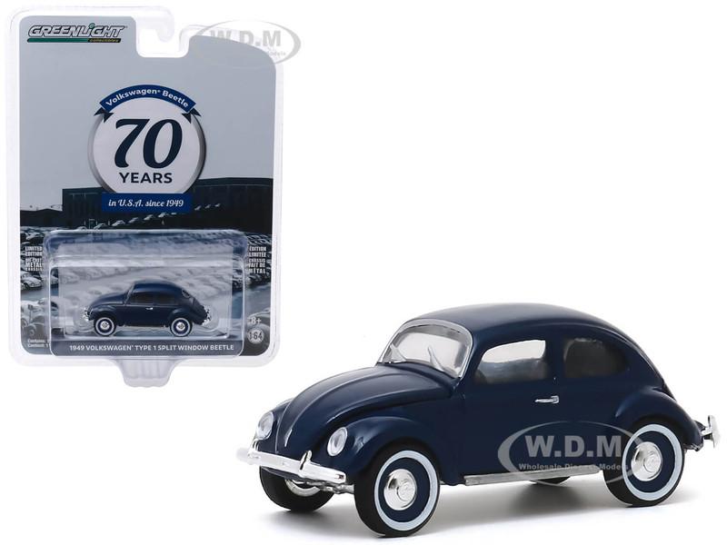 1949 Volkswagen Beetle Type 1 Split Window Dark Blue Volkswagen Beetle in USA 70th Anniversary 1949 2019 Anniversary Collection Series 10 1/64 Diecast Model Car Greenlight 28020 A
