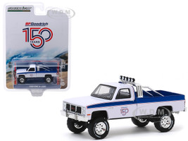 1985 GMC K-2500 Pickup Truck White Blue Stripes BFGoodrich 150th Anniversary Anniversary Collection Series 10 1/64 Diecast Model Car Greenlight 28020 B
