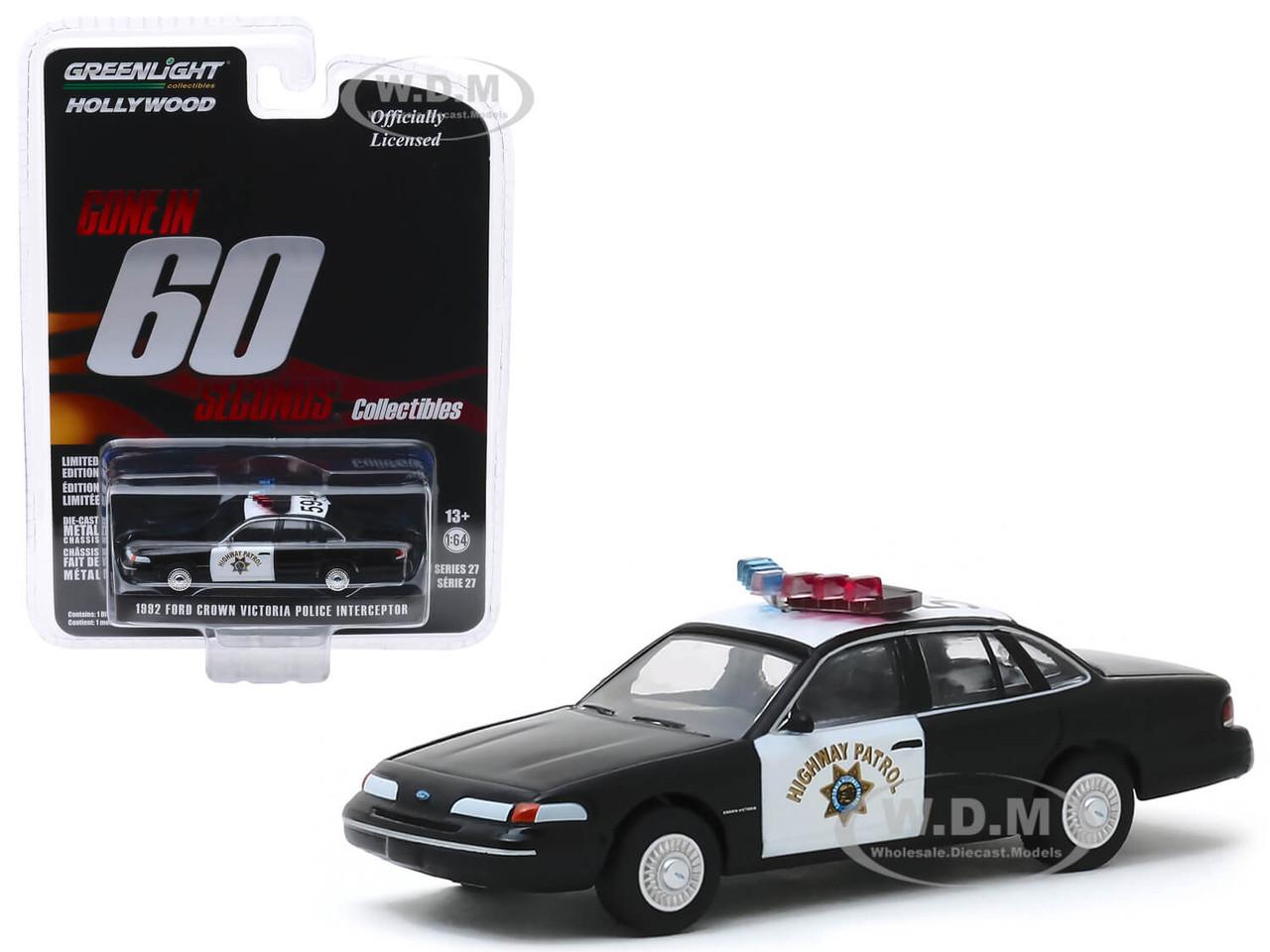 GREENLIGHT 86086 1:43 FORD CROWN VICTORIA CHP POLICE INTERCEPTOR CAR W// CASE