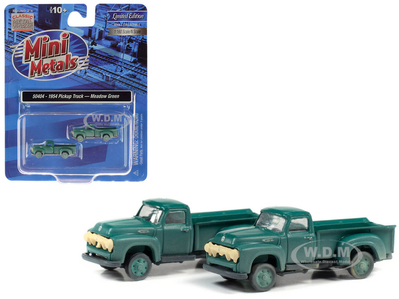 1954 Ford Pickup Trucks Meadow Green Dirty Weathered Set of 2 pieces 1/160 N Scale Model Cars Classic Metal Works 50404