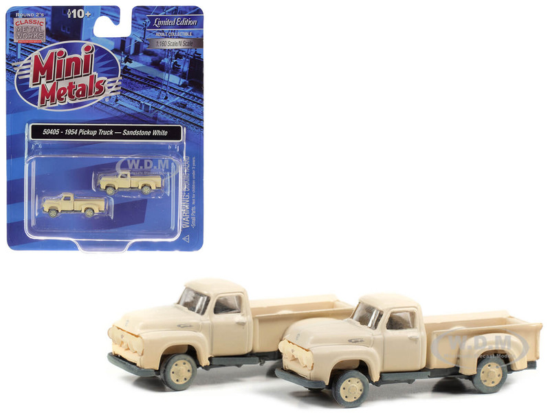 1954 Ford Pickup Trucks Sandstone White Dirty Weathered Set of 2 pieces 1/160 N Scale Model Cars Classic Metal Works 50405