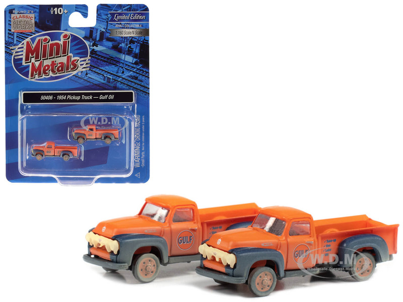 1954 Ford Pickup Trucks Gulf Oil Orange Dirty Weathered Set of 2 pieces 1/160 N Scale Model Cars Classic Metal Works 50406