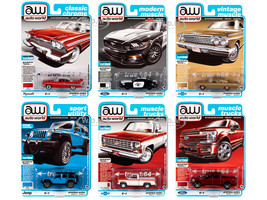 Autoworld Muscle Cars Premium 2020 Release 1 Set A of 6 pieces 1/64 Diecast Model Cars Autoworld 64242 A
