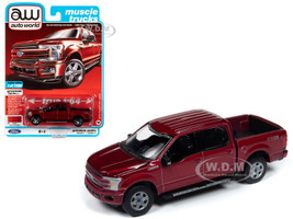 2018 Ford F-150 Lariat Pickup Truck Ruby Red Metallic Muscle Trucks Limited Edition 7300 pieces Worldwide 1/64 Diecast Model Car Autoworld 64242 AWSP032 A