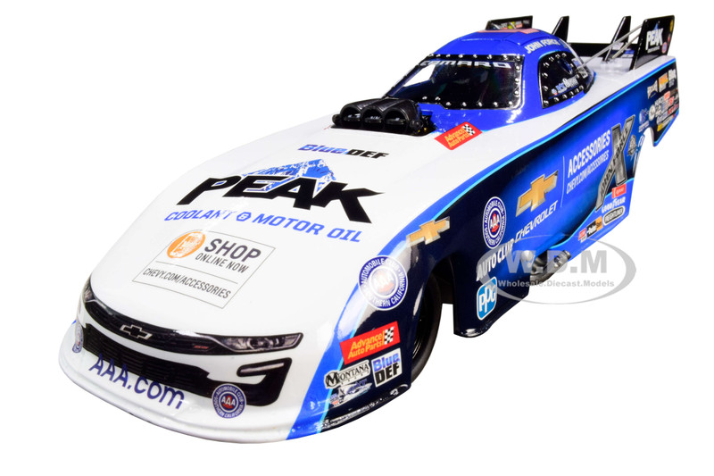 2019 Peak Chevrolet Camaro NHRA Funny Car John Force US Nationals Limited Edition John Force Racing 1/24 Diecast Model Car Autoworld CP7647