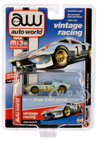 1965 Ford GT #1 Light Blue Red White Stripes Dirty Version Vintage Racing Limited Edition 2400 pieces Worldwide 1/64 Diecast Model Car Autoworld CP7650
