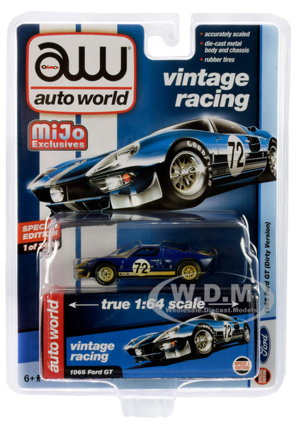 1965 Ford GT #72 Dark Blue Metallic White Stripes Dirty Version Vintage Racing Limited Edition 2400 pieces Worldwide 1/64 Diecast Model Car Autoworld CP7651