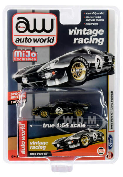 1965 Ford GT #2 Black Silver Stripes Dirty Version Vintage Racing Limited Edition 2400 pieces Worldwide 1/64 Diecast Model Car Autoworld CP7652