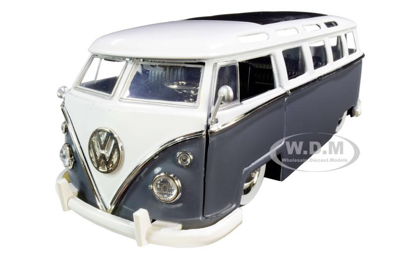 1962 Volkswagen Bus Gray White Bigtime Kustoms 1/24 Diecast Model Car Jada 99057