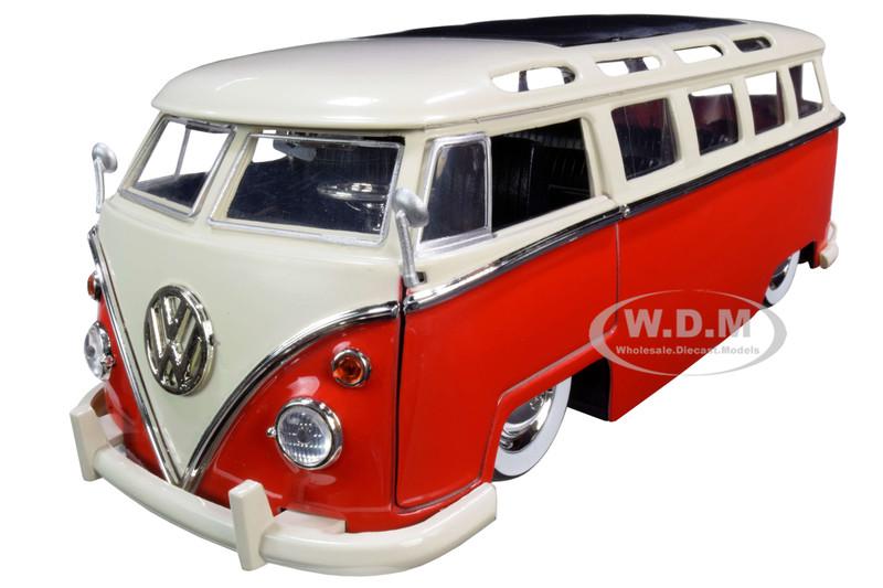 1962 Volkswagen Bus Red Cream Bigtime Kustoms 1/24 Diecast Model Car Jada 99058