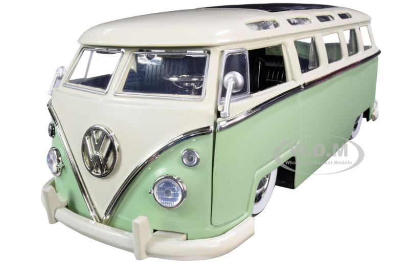 1962 Volkswagen Bus Light Green Cream Bigtime Kustoms 1/24 Diecast Model Car Jada 99064