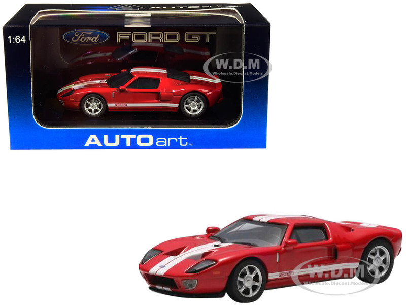2004 Ford GT Red White Stripes 1/64 Diecast Model Car Autoart 20351
