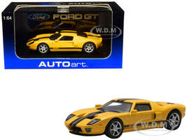 2004 Ford GT Yellow Black Stripes 1/64 Diecast Model Car Autoart 20352