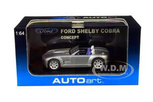 Ford Shelby Cobra Concept Tungsten Silver Metallic Gray Stripes 1/64 Diecast Model Car Autoart 20541