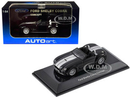 2004 Ford Shelby Cobra Concept Ebony Black Metallic Bright Argent Silver Stripes 1/64 Diecast Model Car Autoart 20542