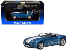 2004 Ford Shelby Cobra Concept Guardsman Blue Metallic Performance White Stripes 1/64 Diecast Model Car Autoart 20543