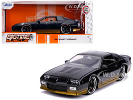 1985 Chevrolet Camaro Z28 Black Metallic Gold Stripes Bigtime Muscle 1/24 Diecast Model Car Jada 31457