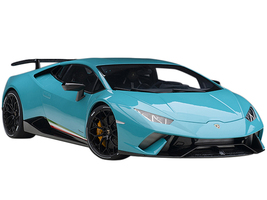 Lamborghini Huracan Performante Blu Glauco Solid Blue Black Wheels 1/12 Model Car Autoart 12077