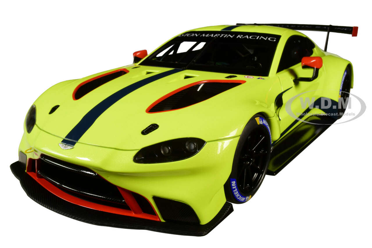 2018 Aston Martin Vantage Gte Le Mans Pro Presentation Car Lemon Green Metallic Carbon Red Accents Aston Martin Racing 1 18 Model Car Autoart 81807