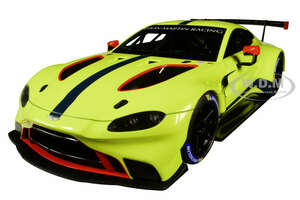 2018 Aston Martin Vantage GTE Le Mans PRO Presentation Car Lemon Green Metallic Carbon Red Accents Aston Martin Racing 1/18 Model Car Autoart 81807