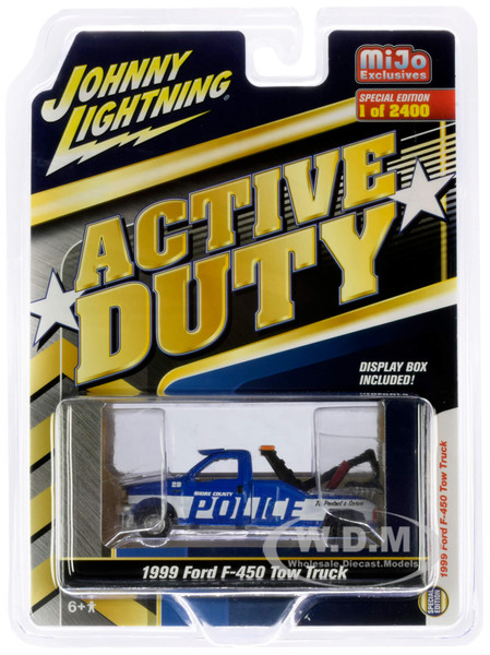1999 Ford F-450 Police Tow Truck Blue White Stripes Active Duty Limited Edition 2400 pieces Worldwide 1/64 Diecast Model Johnny Lightning JLCP7255