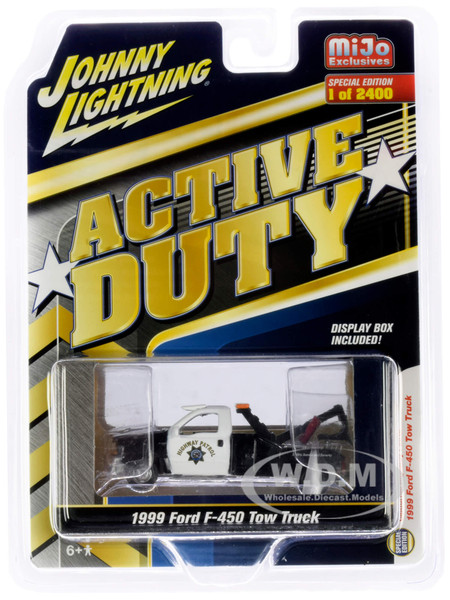 1999 Ford F-450 Police Tow Truck Black White CHP California Highway Patrol Active Duty Limited Edition 2400 pieces Worldwide 1/64 Diecast Model Johnny Lightning JLCP7256