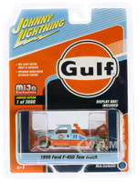 1999 Ford F-450 Tow Truck Gulf Oil Orange Light Blue Limited Edition 3600 pieces Worldwide 1/64 Diecast Model Johnny Lightning JLCP7257