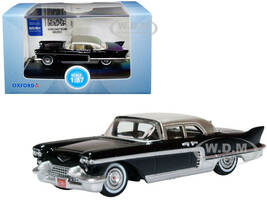 1957 Cadillac Eldorado Brougham Ebony Black Silver Metallic Top 1/87 HO Scale Diecast Model Car Oxford Diecast 87CE57001