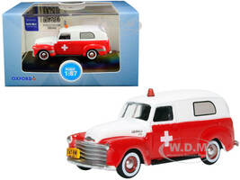 1950 Chevrolet Panel Van Ambulance Red White 1/87 HO Scale Diecast Model Car Oxford Diecast 87CV50001