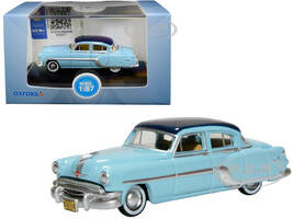 1954 Pontiac Chieftain 4 Door Mayfair Blue San Marino Blue Top 1/87 HO Scale Diecast Model Car Oxford Diecast 87PC54001