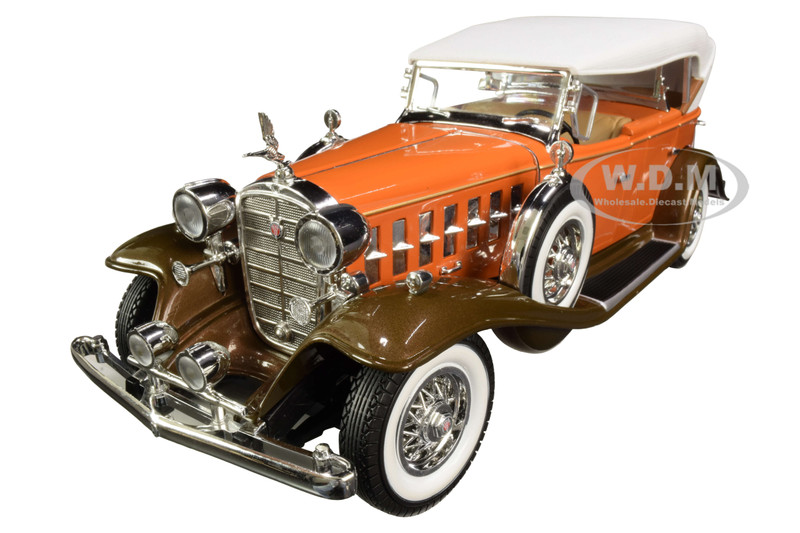 932 Cadillac V16 Sports Phaeton Convertible Orange with White Top 1/18 Diecast Model Car by Autoworld AW264