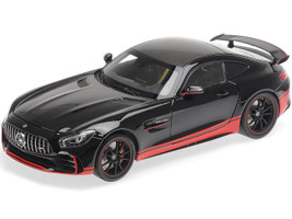 2017 Mercedes AMG GT R Glossy Black Red Stripes Carbon Top 1/18 Diecast Model Car Almost Real 820703