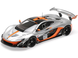 McLaren P1 GTR #01 Silver Black Orange Accents Design Concept Monterey Car Week 2014 Pebble Beach California 1/18 Diecast Model Car Almost Real 840101